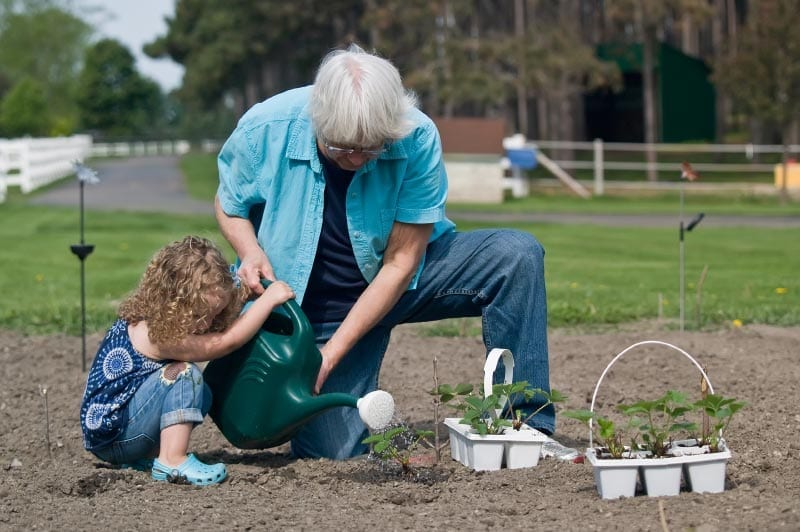 a granddaughter helping her grandmother garden